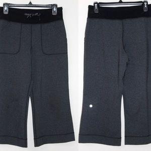 Lululemon Still Heathered Coal Grey Crop Pants EUC